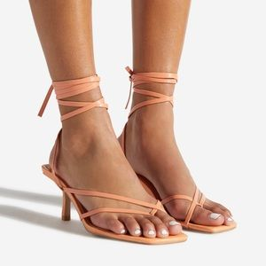 Lace Up Strappy Kitten Heel Sandals